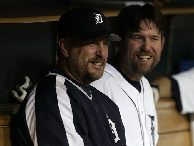 Matt Stairs, left, played 14 games for the Tigers in 2006, finishing with two home runs and eight RBIs.