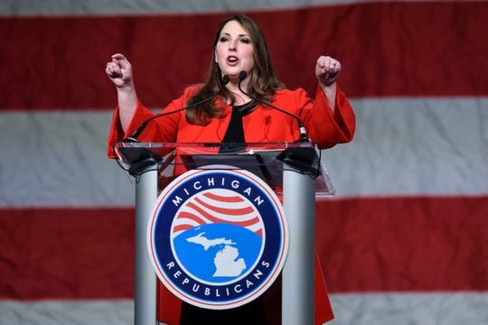 Republican National Committee Chair Ronna McDaniel addresses the crowd at the state convention, Saturday, Feb. 23, 2019, at the Lansing Center.