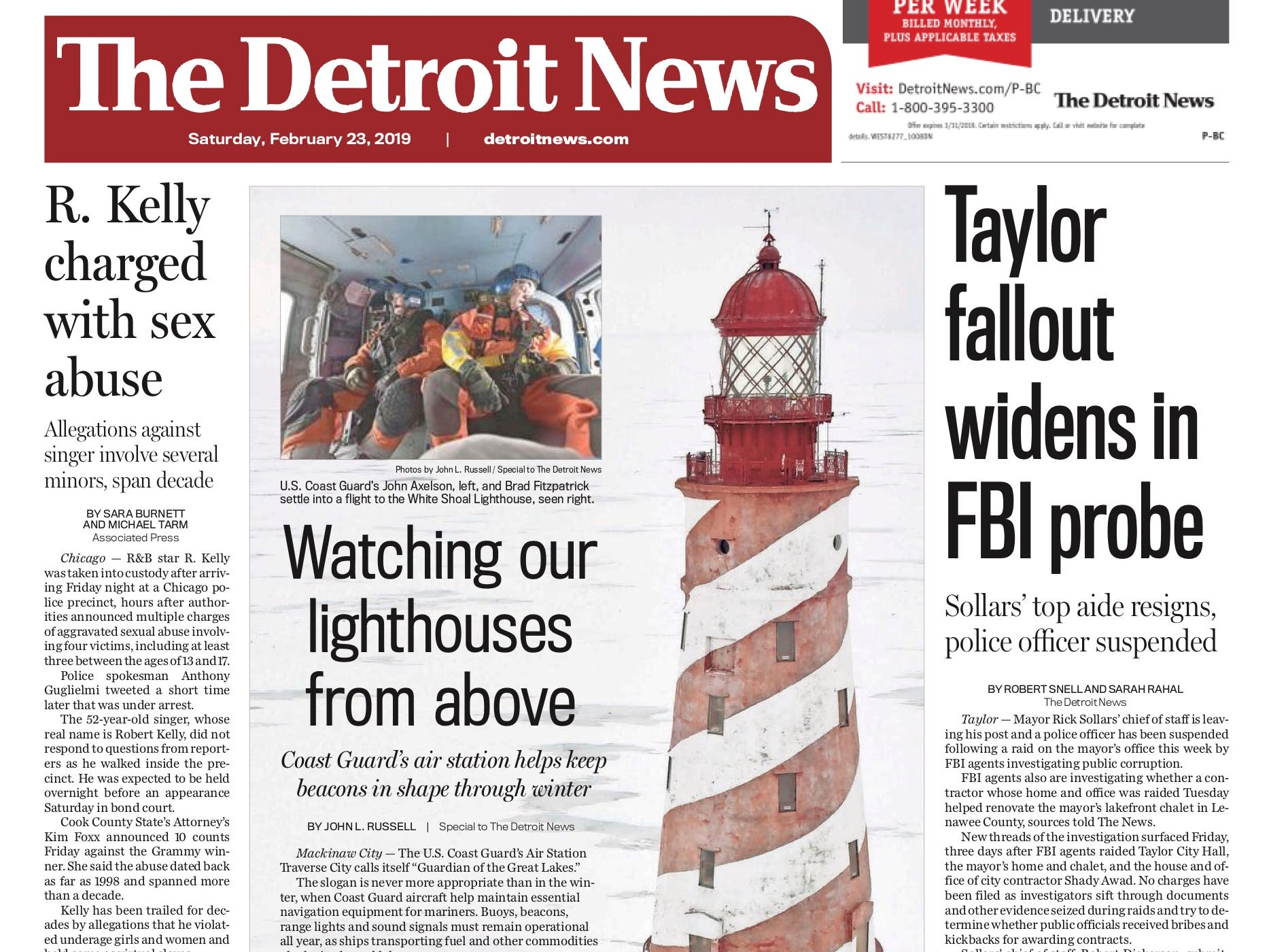The front page of the Detroit News on February 23, 2019