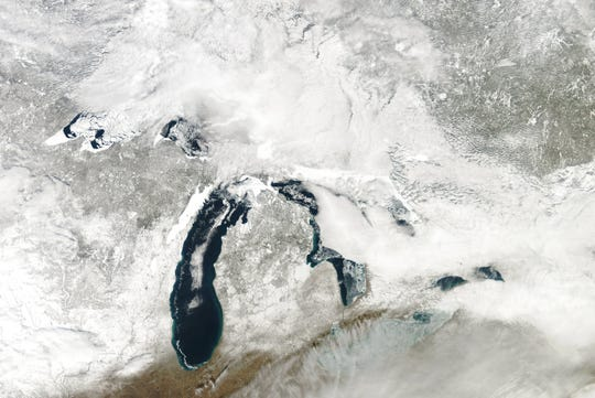 A satellite image of Feb. 23 conditions on the Great Lakes.