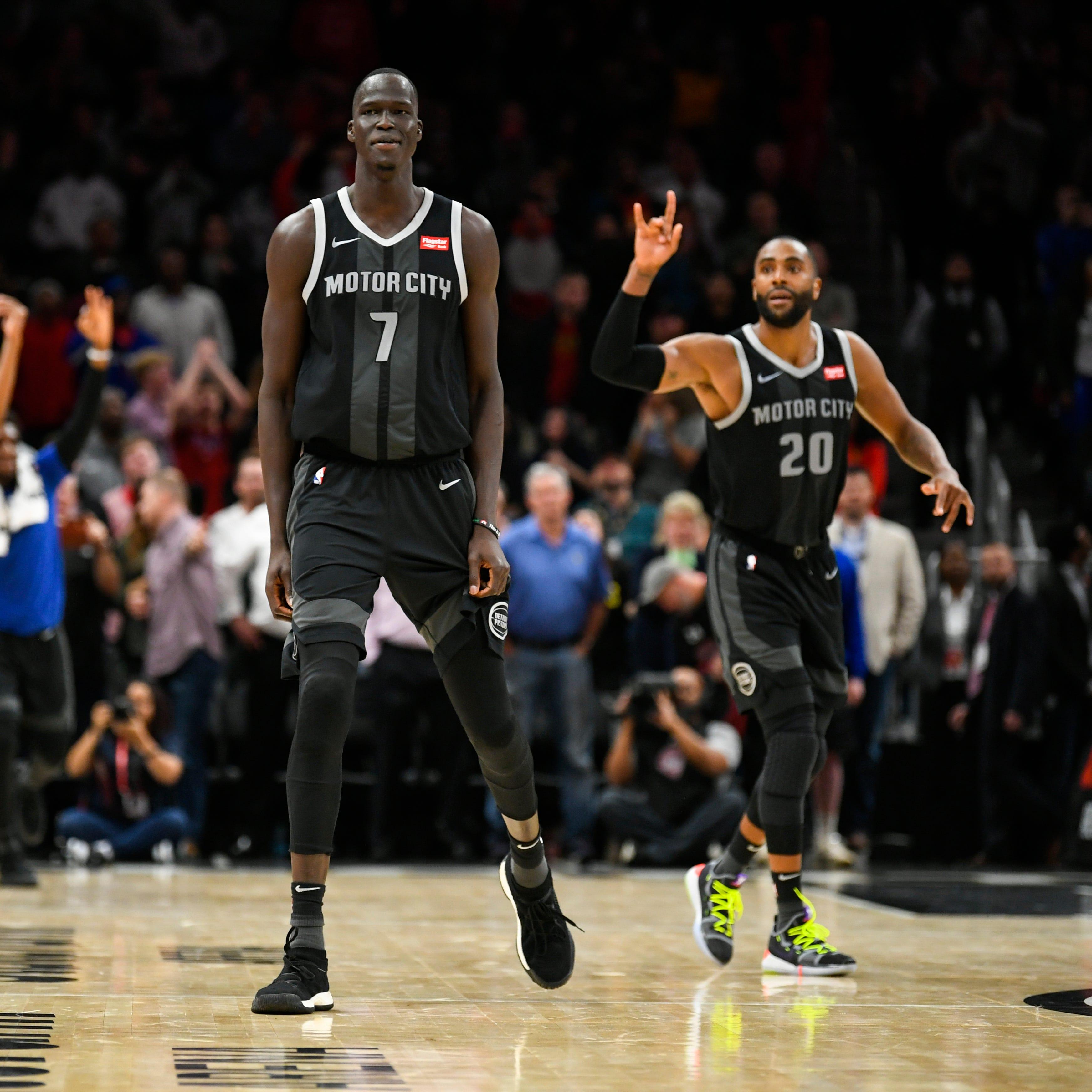 Detroit Pistons forward Thon Maker (7) looks on...