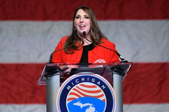 Republican National Committee Chair Ronna McDaniel addresses the crowd during the MIGOP State Convention, Saturday, Feb. 23, 2019, held at the Lansing Center in Lansing, Mich.  (Jose Juarez/Special to Detroit News)
