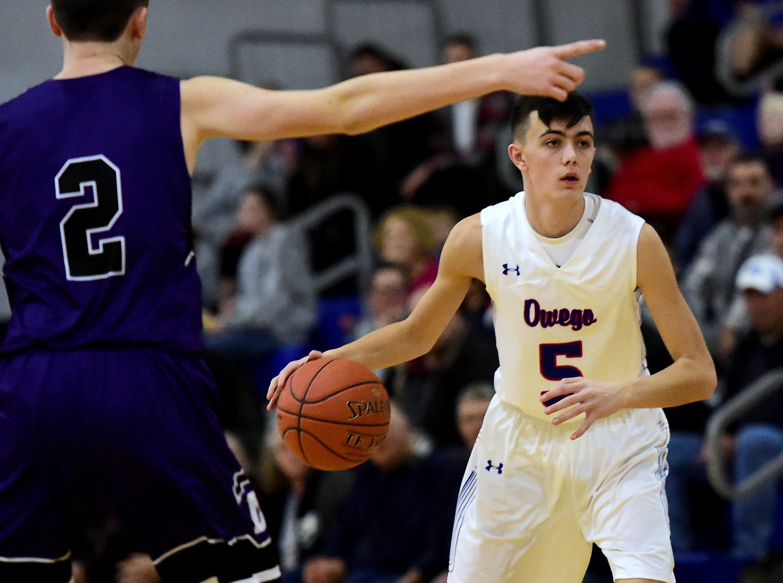 Section 4, Class B, boys basketball quarterfinal, Dryden at Owego Free Academy, February 22, 2019.