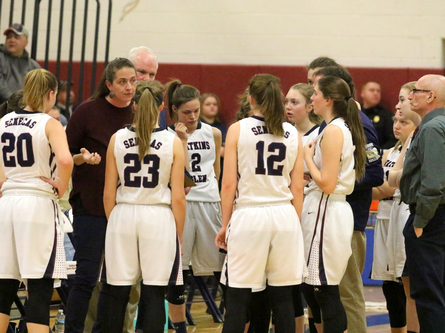 Watkins Glen coach Alicia Learn talks to her team during a 61-35 win over Delhi in a Section 4 Class C quarterfinal Feb. 22, 2019 at Watkins Glen High School.