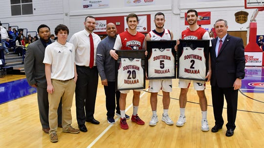 USI seniors Alex Stein, Nate Hansen and Jacob Norman were honored before Saturday's game.