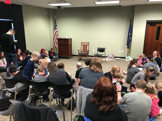 Scene from inside Drag Queen Story Hour at EVPL's North Park Library. Feb. 23, 2019.