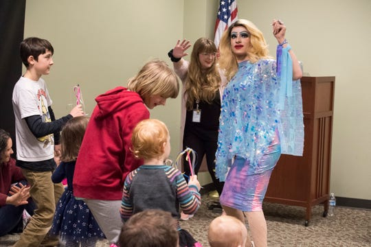 "EVPL's Drag Queen Story Hour performer Florintine Dawn dances with the crowd to the ""Freeze Dance"" song Saturday, Feb. 23, 2019."
