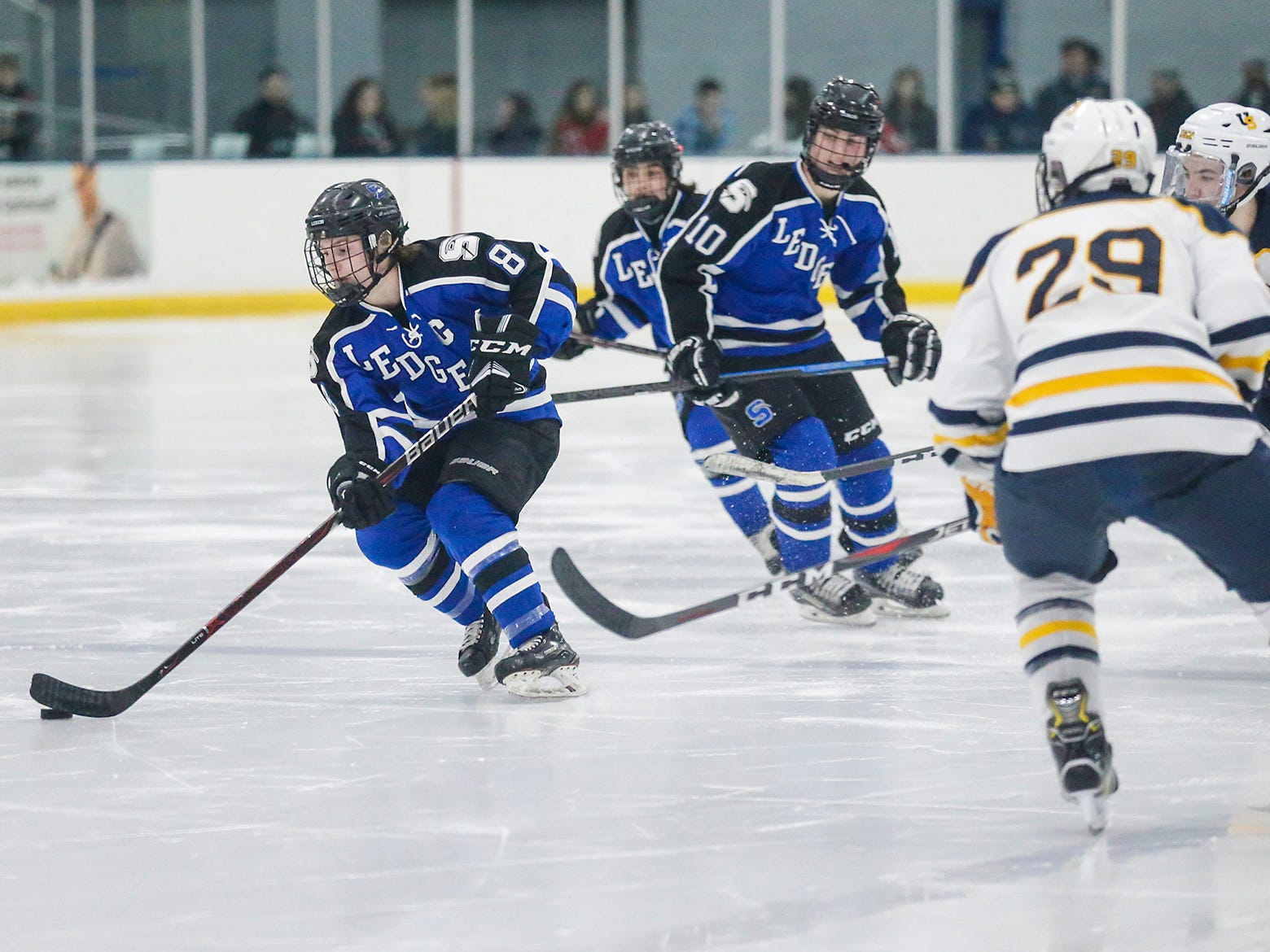 St. Mary's Springs boys co-op hockey's Zach Welsch (8) moves the puck down the ice against University School of Milwaukee Friday, February 22, 2019 during their WIAA sectional final game in Fond du Lac. University School won the game 6-1 and will advance to state. Doug Raflik/USA TODAY NETWORK-Wisconsin