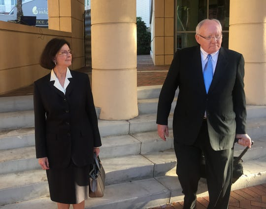 Kay and Robert Gow leave U.S. District Court in  Fort Myers Friday after being convicted on 10 counts connected to the squandering of $4.7 million in Lee County funds from an economic development grant.
