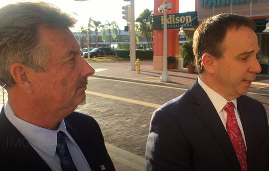 John G. Williams Jr. and his lawyer, Todd Foster of Tampa, discuss Williams conviction on three of five counts in the VR Labs scandal.