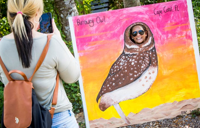 Carla Perez takes a photo of her friend Liz Lopez as a Burrowing Owl. The friends came over from Miami to enjoy the festival. According to volunteers, over 4,000 people attended the festival this year. Cape Coral Florida's, official City bird was celebrated during the 17th Annual Burrowing Owl Festival at Rotary Park on Saturday, February 23, 2019. It was a fun day for the whole family, filled with entertaining and educational programs, hands-on activities for children, live animals, guided nature walks, butterfly house tours, bus tours to active owl burrows.