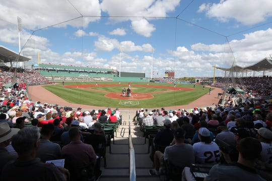 A packed house for today's opener. Boston Red Sox were victorious over the New York Yankees in front of packed house in their spring training opener at Jet Blue Park, Fort Myers, Florida. February 23, 2019.
