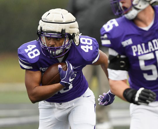 Furman running back Jeff McElveen (48) during the annual Purple-White football scrimmage Saturday at Paladin Stadium.