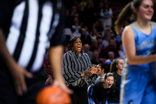 Christ Church head coach JaNet Vicks during their Class AA SCHSL Girls State Basketball championship playoff game against Lee Central Friday, Feb. 22, 2019.