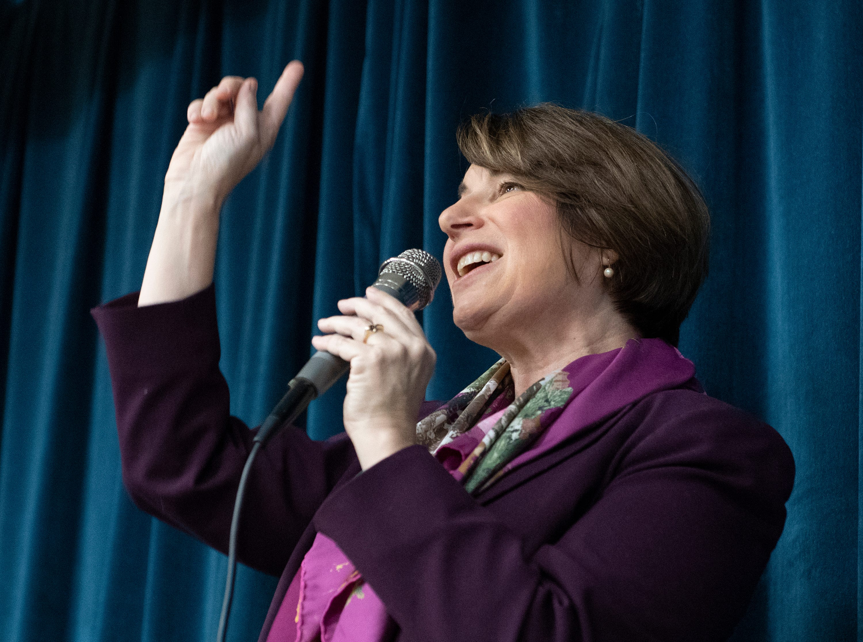 Sen. Amy Klobuchar talks to people gathered at Upstate Circle of Friends for the Greenville County Democratic Party's monthly breakfast Saturday, Feb. 23, 2019.