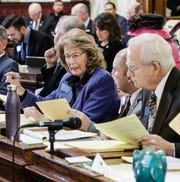 Rep. Nancy Ballance, R-Hamilton, speaks with House Minority Leader, Casey Schreiner, D-Great Falls, during a Feb. 21 floor session.