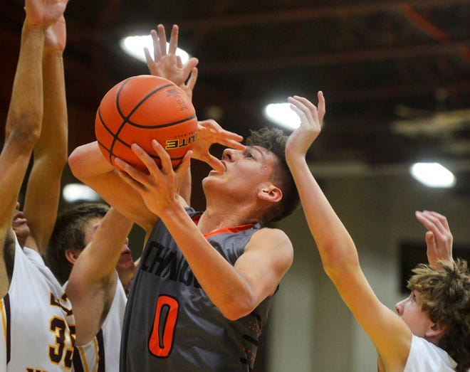 Belt and Chinook play in the semifinal round of the Northern C Basketball Tournament, Friday.