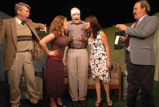 """Rod Gates, pictured far right, in a scene from """"Run for Your Wife"""" at the Center Stage Theater in 2002. Cast members (from left) include Tim Ljunggren (Detective Sergeant Troughton), Carolina Provvido (Barbara Smith), Brian Frank (John Smith), Tianta Nelson (Mary Smith), and Rod Gates (Detective Sergeant Porterhouse.)"""