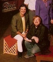 Great Falls FM radio legends Cap'n Rod Gates, left, and Keith Edwards (AKA Greg Korin) sit for a Christmas photo outside the KQDI/Q106 studio when it was housed at Times Square in the late 1980s-1990s. Gates, whose given name was Rodney Gaither, died Feb. 14  at age 75.