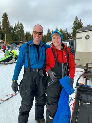 Brett Bruggeman and his son, Spencer, smile at the start of Oregon's Eagle Cap Extreme race earlier this year.
