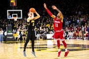 Jordan Bohannon his four nearly impossible 3-pointers in the final 5:28 of Iowa's 76-70 overtime win against Indiana.