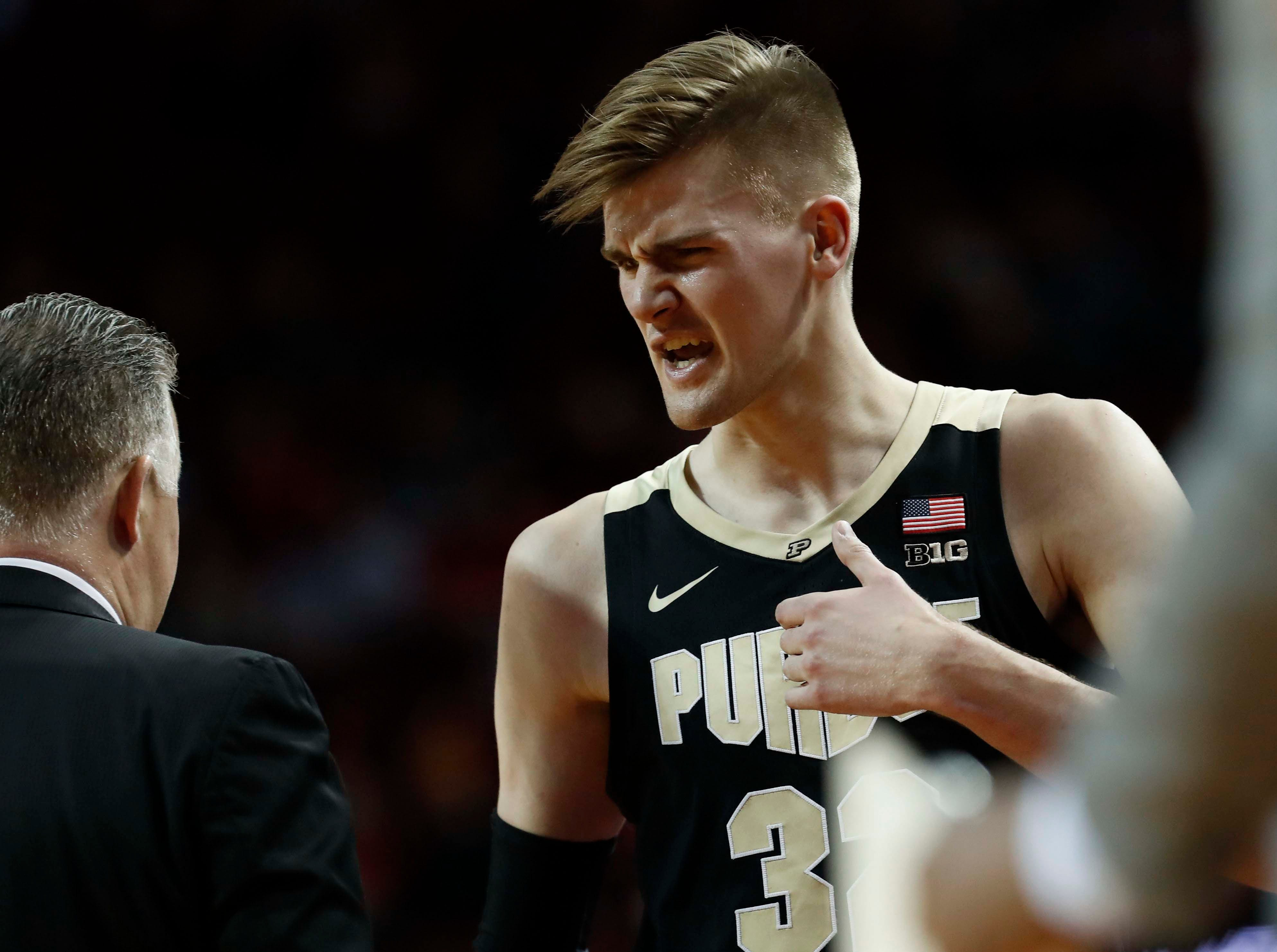 Purdue Boilermakers center Matt Haarms (32) reacts as he comes off the court during the game against the Nebraska Cornhuskers in the second half at Pinnacle Bank Arena.