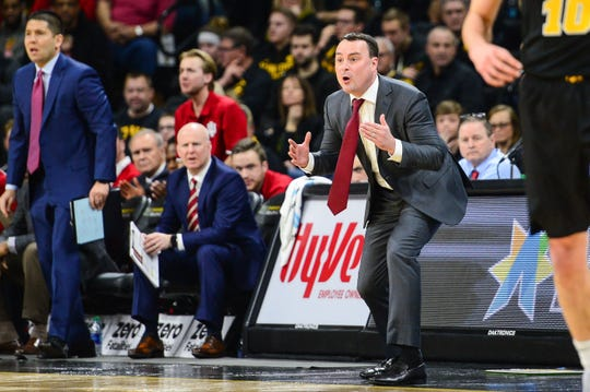 Feb 22, 2019; Iowa City, IA, USA; Indiana Hoosiers head coach Archie Miller reacts to a call during the first half against the Iowa Hawkeyes at Carver-Hawkeye Arena. Mandatory Credit: Jeffrey Becker-USA TODAY Sports