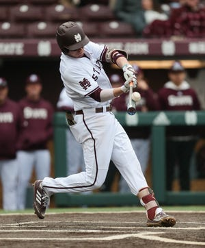 Mississippi State's Jordan Westburg knocked in an RBI during the Bulldogs' four run second inning against Southern Miss on Saturday. Photo by Keith Warren
