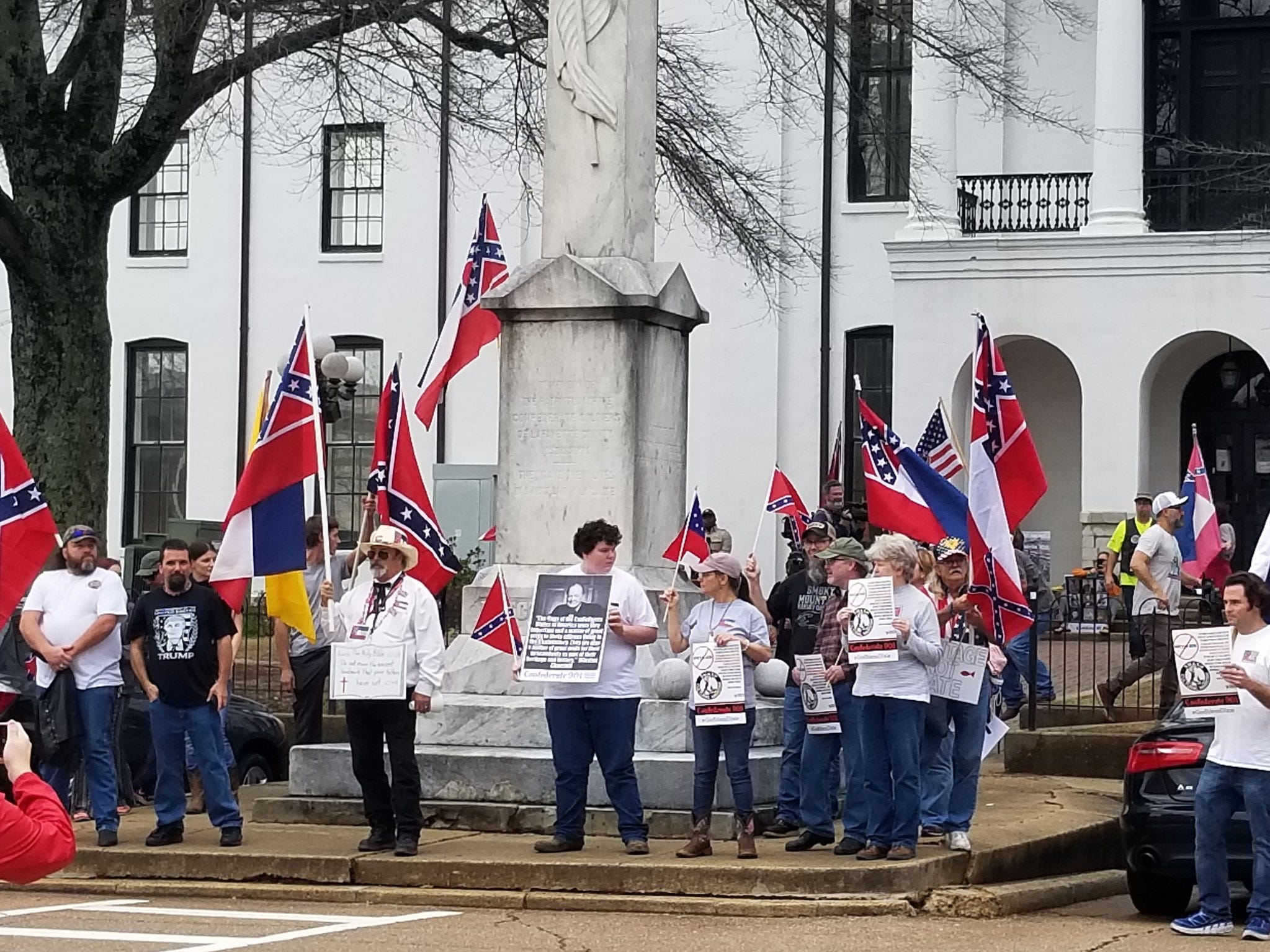 Two Pro-Confederate groups organized a rally in Oxford that started at The Square before marching to a memorial to an unknown Confederate soldier located on the campus of the University of Mississippi on Saturday, Feb. 23, 2019.