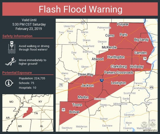 Many areas of West Tennessee are under flash flood warning through 5:30 p.m. Saturday.