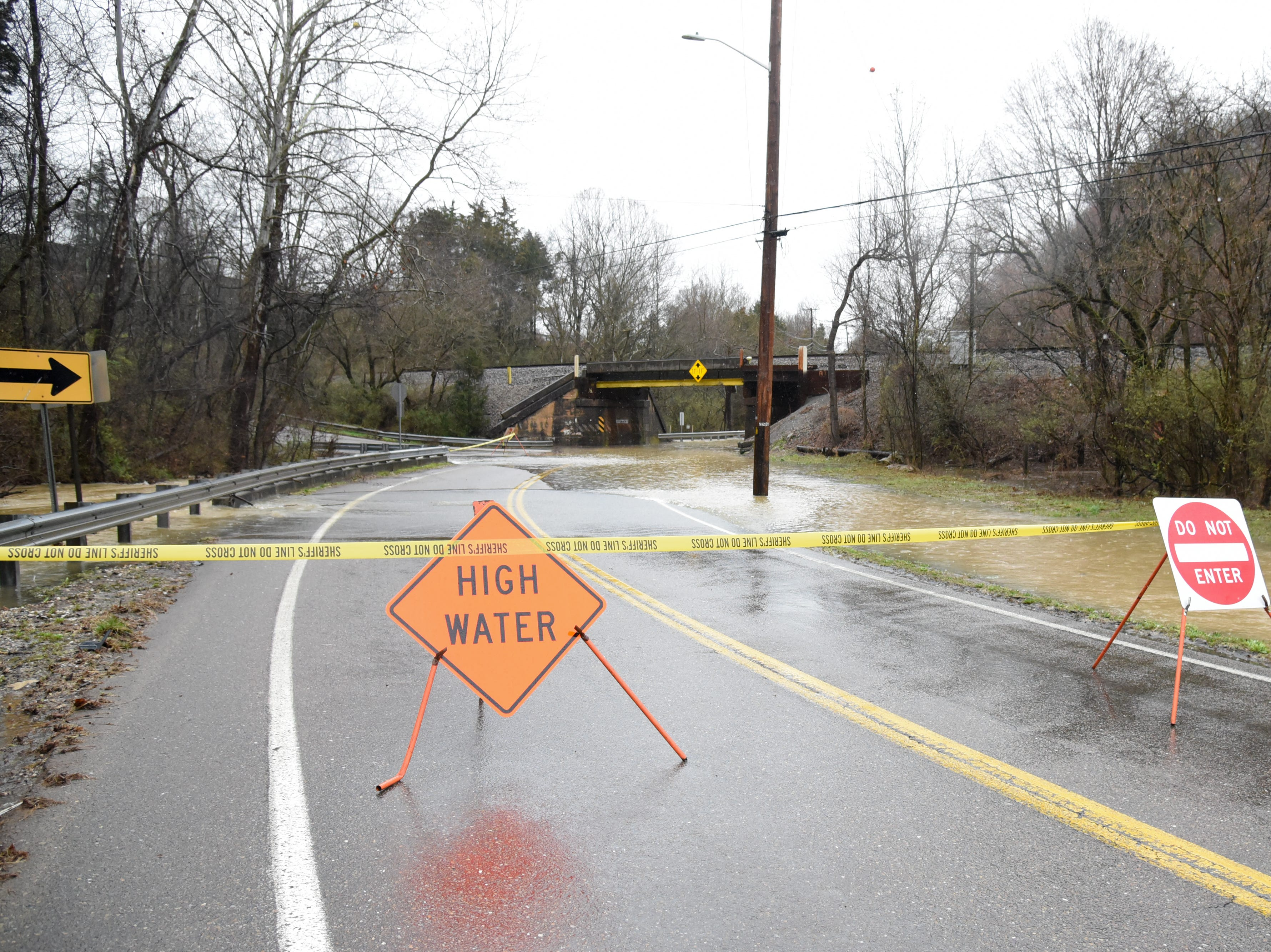 Central Avenue Pike at the intersection of Irwin Dr. Is closed due to floodwaters in Knox County Saturday Feb. 23, 2019. The Knoxville area could see between 2 and 3 inches of rain through the weekend.