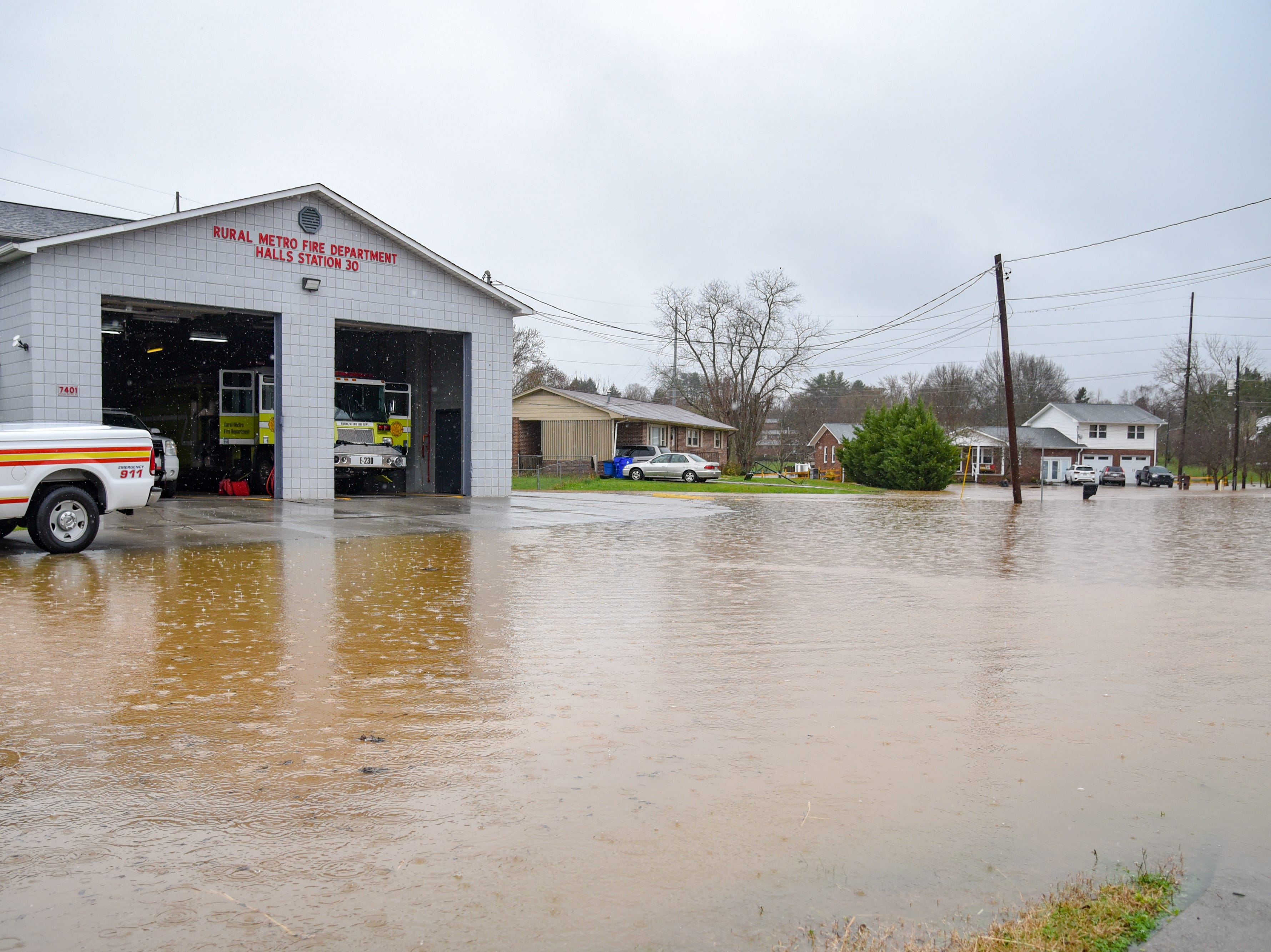 Flood waters approach Rural Metro Station 30 in Halls Saturday Feb. 23, 2019. The Knoxville area could see between 2 and 3 inches of rain through the weekend.