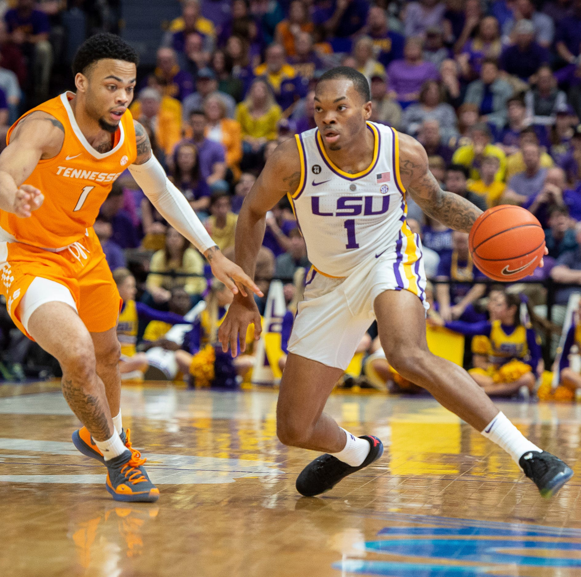 No. 13 LSU beats No. 5 Tennessee, 82-80, in OT without Waters and with Naz Reid scoring 1