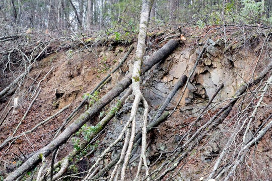 Fallen trees, rocks and mud can be seen the scene of a mudslide on I-40 eastbound in Clyde, North Carolina  near the Tennessee and North Carolina border on Saturday, February 23, 2019. Travel east and west on I-40 will be shut down for approximately four to seven days, with the east and west bound lanes to open with only one lane for around six weeks as crews continue repairs.