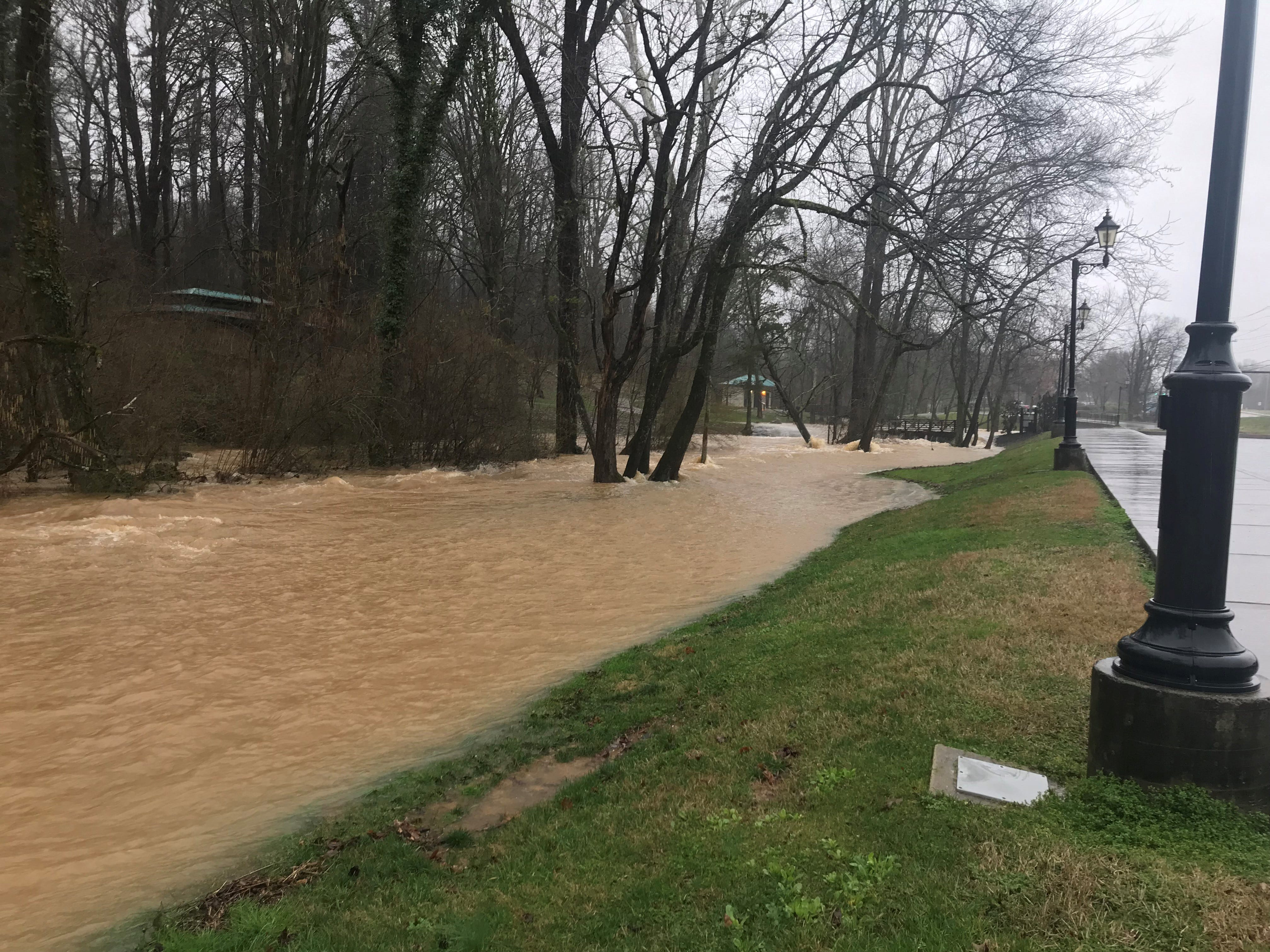 The North Fork of Turkey Creek overflows into Founder's Park in Farragut on Saturday, Feb. 23, 2019.