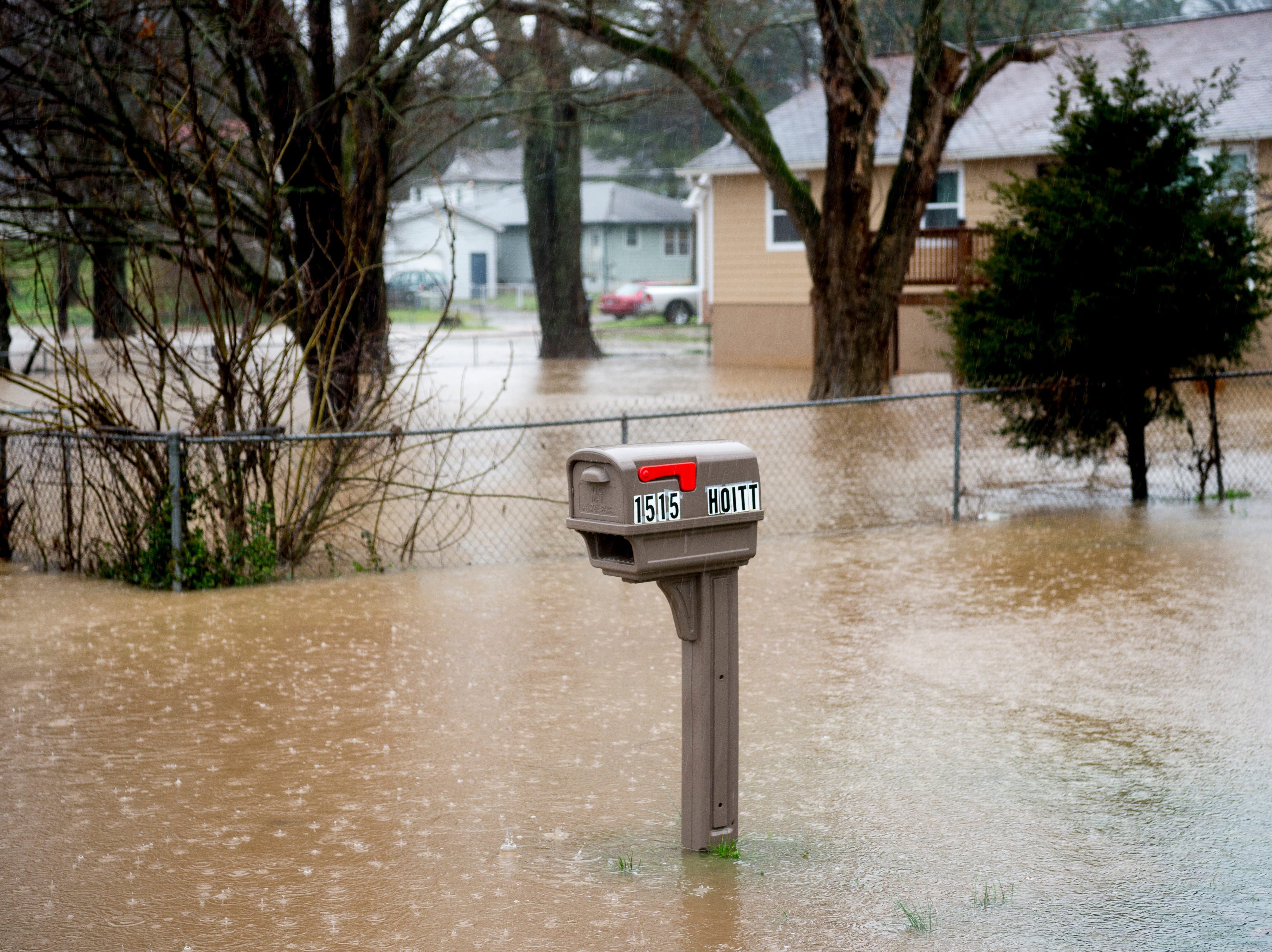 1515 Hoitt Ave. is seen flooded during a heavy rainstorm in Knoxville, Tennessee on Saturday, February 23, 2019. The Knoxville area could see between 2 and 3 inches through the weekend.