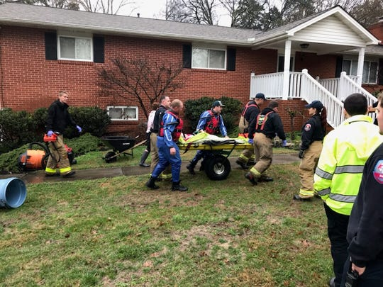Rural Metro Fire and the Knox County Rescue responded to this residence to assist in relocating the elderly female from the flooded basement to the upstairs living area of the house. Responders utilized water suites and a wheeled stretcher to move the person.