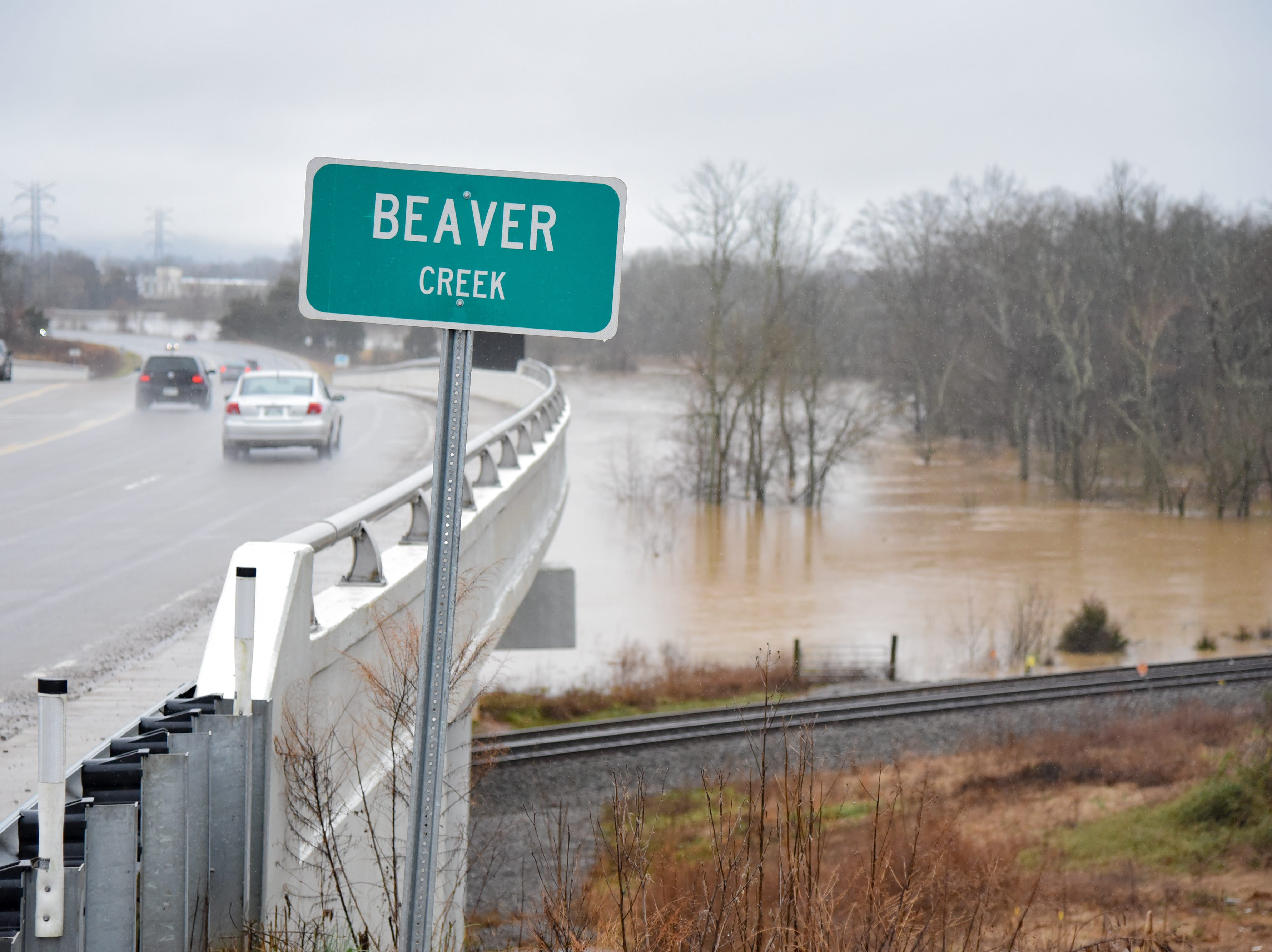 Beaver Creek overflows due to flooding in Powell Saturday Feb. 23, 2019. The Knoxville area could see between 2 and 3 inches of rain through the weekend.