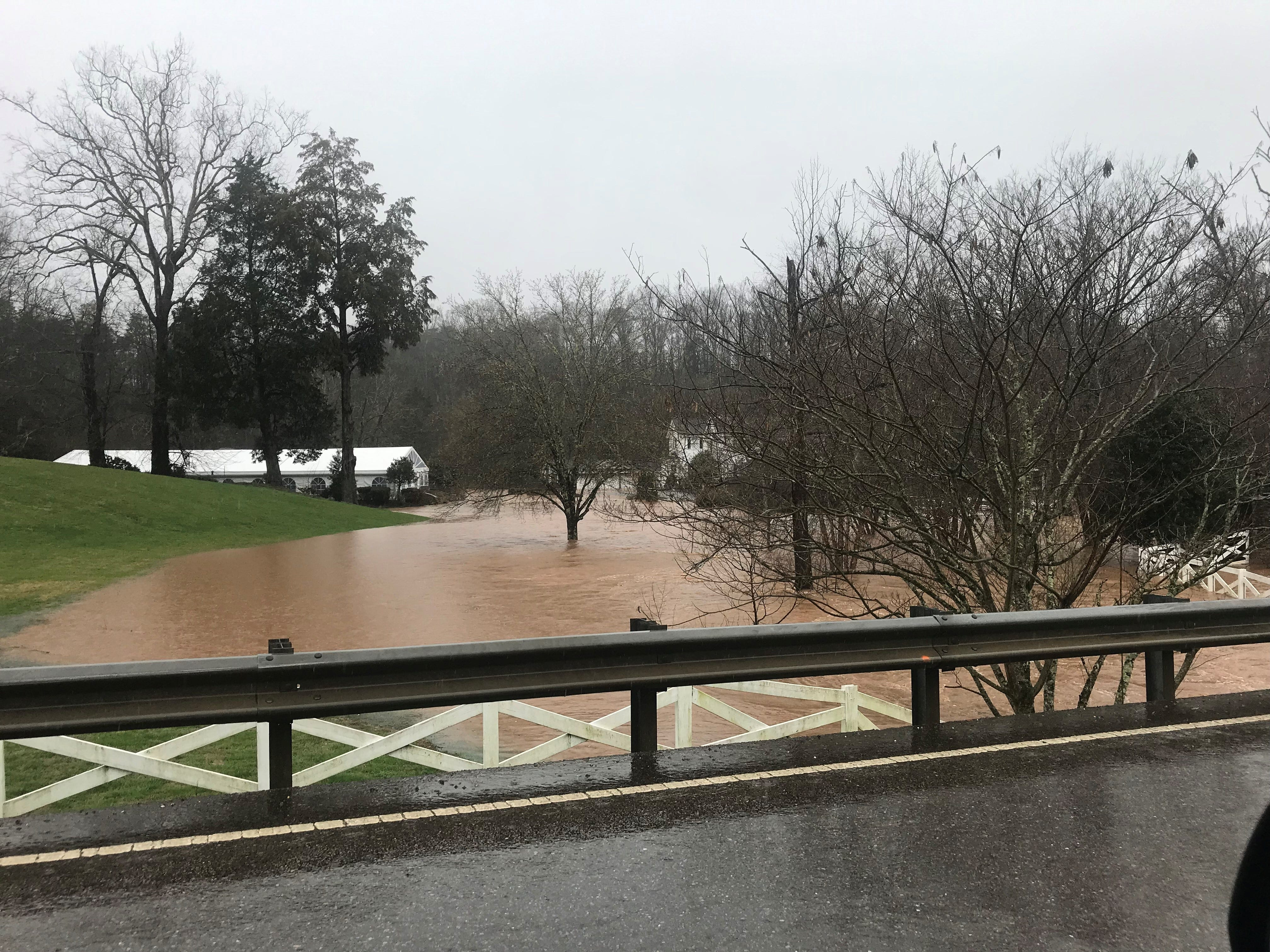 Dara's Garden on Maryville Pike is submerged in flood waters on Saturday, Feb. 23, 2019.