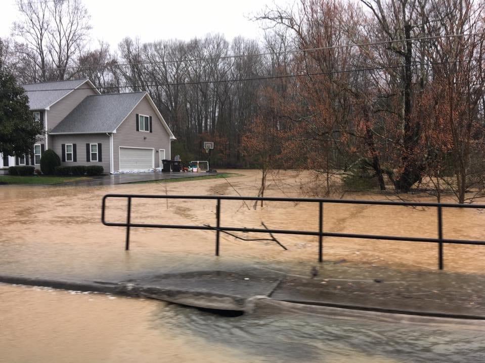 Flooding in the Village Green neighborhood in Farragut on Saturday, Feb. 23, 2019.