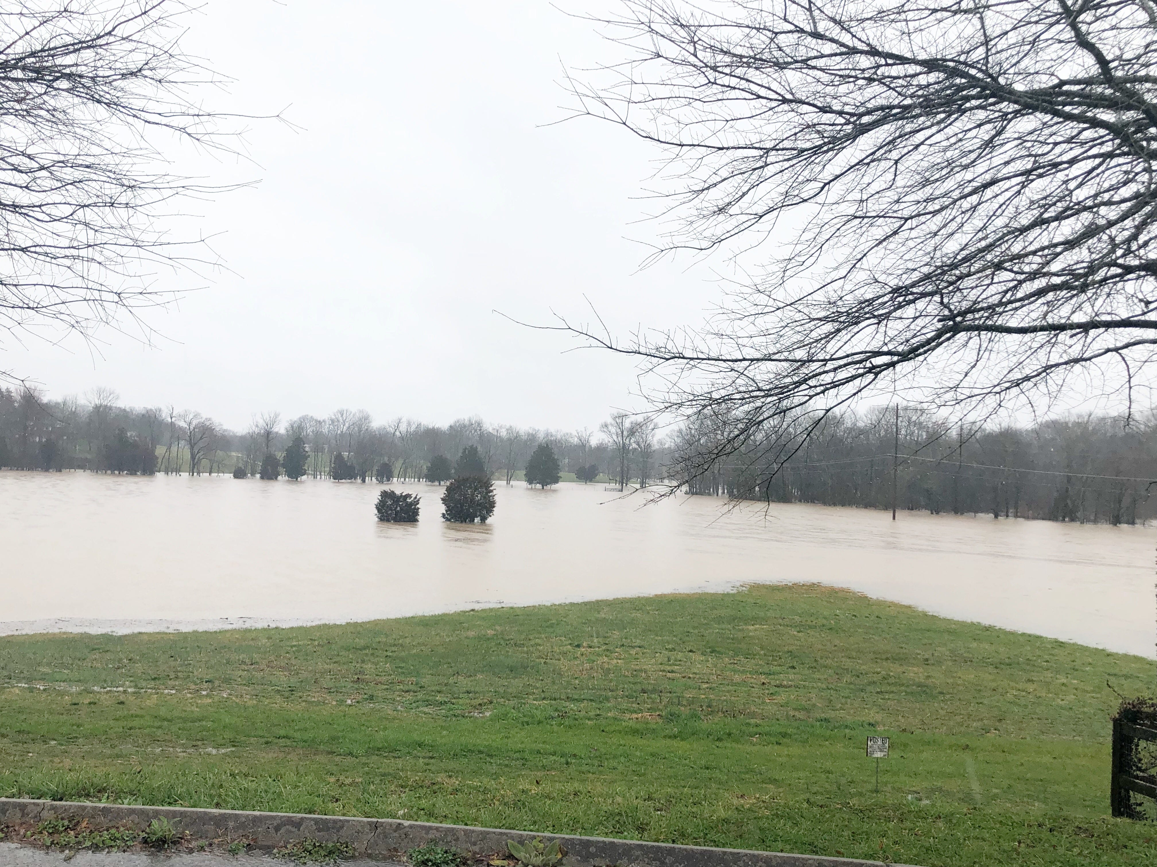 Flooding from Beaver Creek near Brickey McCloud Elementary School in Halls on Saturday, Feb. 23, 2019.