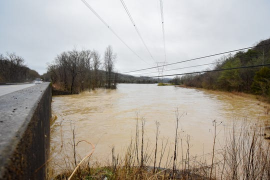 Bullrun Creek overflows due to flooding at Norris Freeway in Knox County Saturday Feb. 23, 2019. The Knoxville area could see between 2 and 3 inches of rain through the weekend.