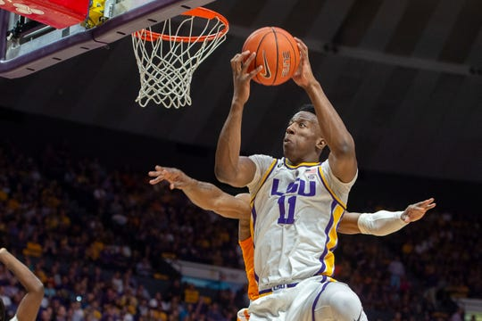 LSU's Kavell Bigby-Williams takes it to the basket against Tennessee during an NCAA college basketball game, Saturday, Feb. 23, 2019, in Baton Rouge, La. (Scott Clause/The Daily Advertiser via AP)