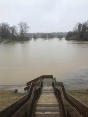 Flood water is Chilhowee Park in Knoxville on Saturday, Feb. 23, 2019.
