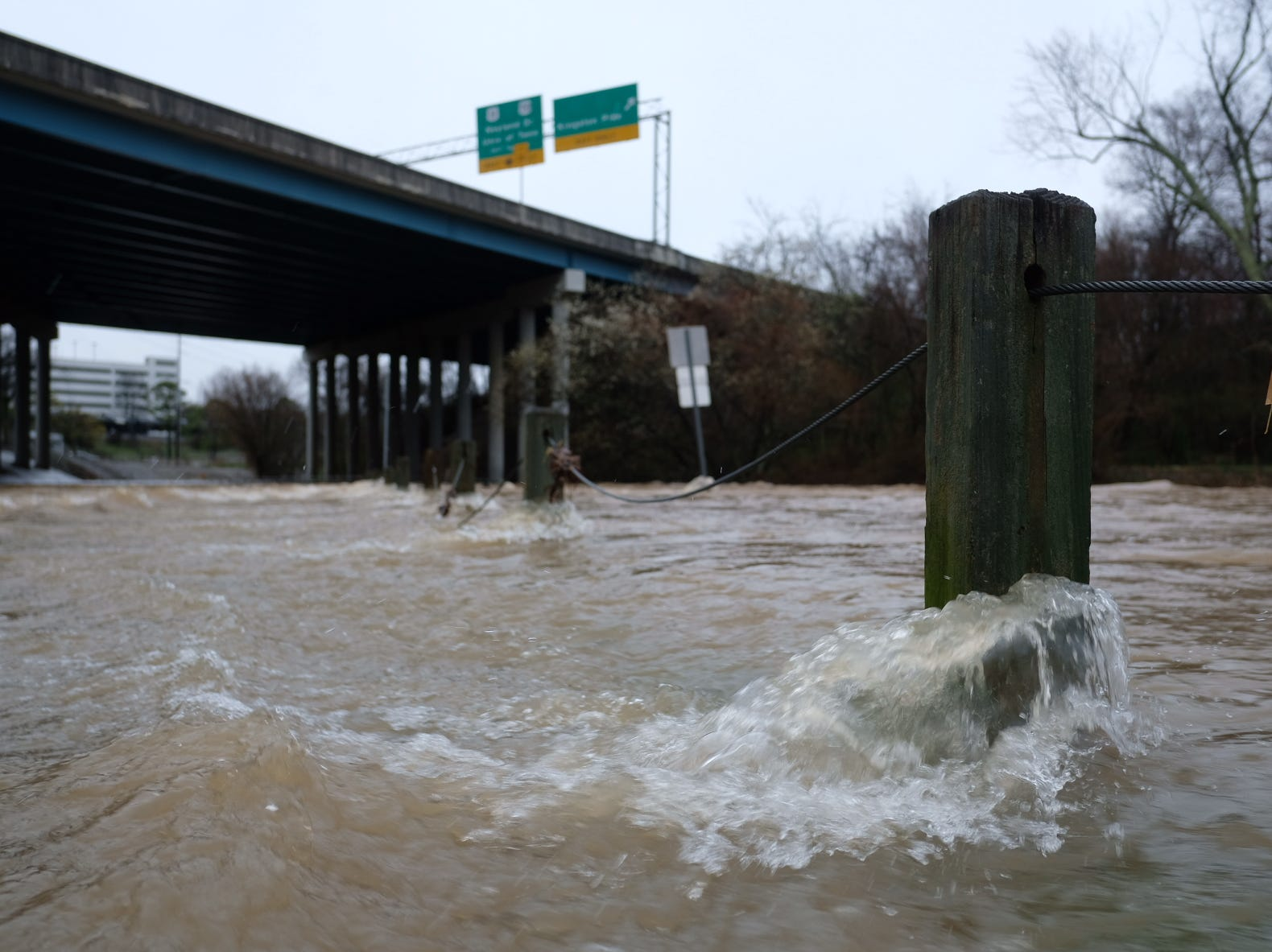Flood waters submerge Tyson Park in Knoxville on Saturday, Feb. 23, 2019.