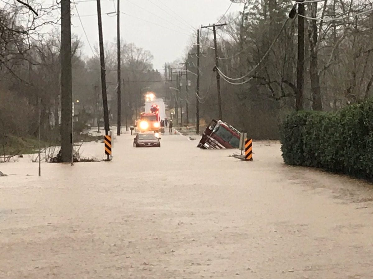 KFD engine 11 partially submerged in heavy flood water while responding to a trapped motorist in Knoxville on Saturday, Feb. 23, 2019.