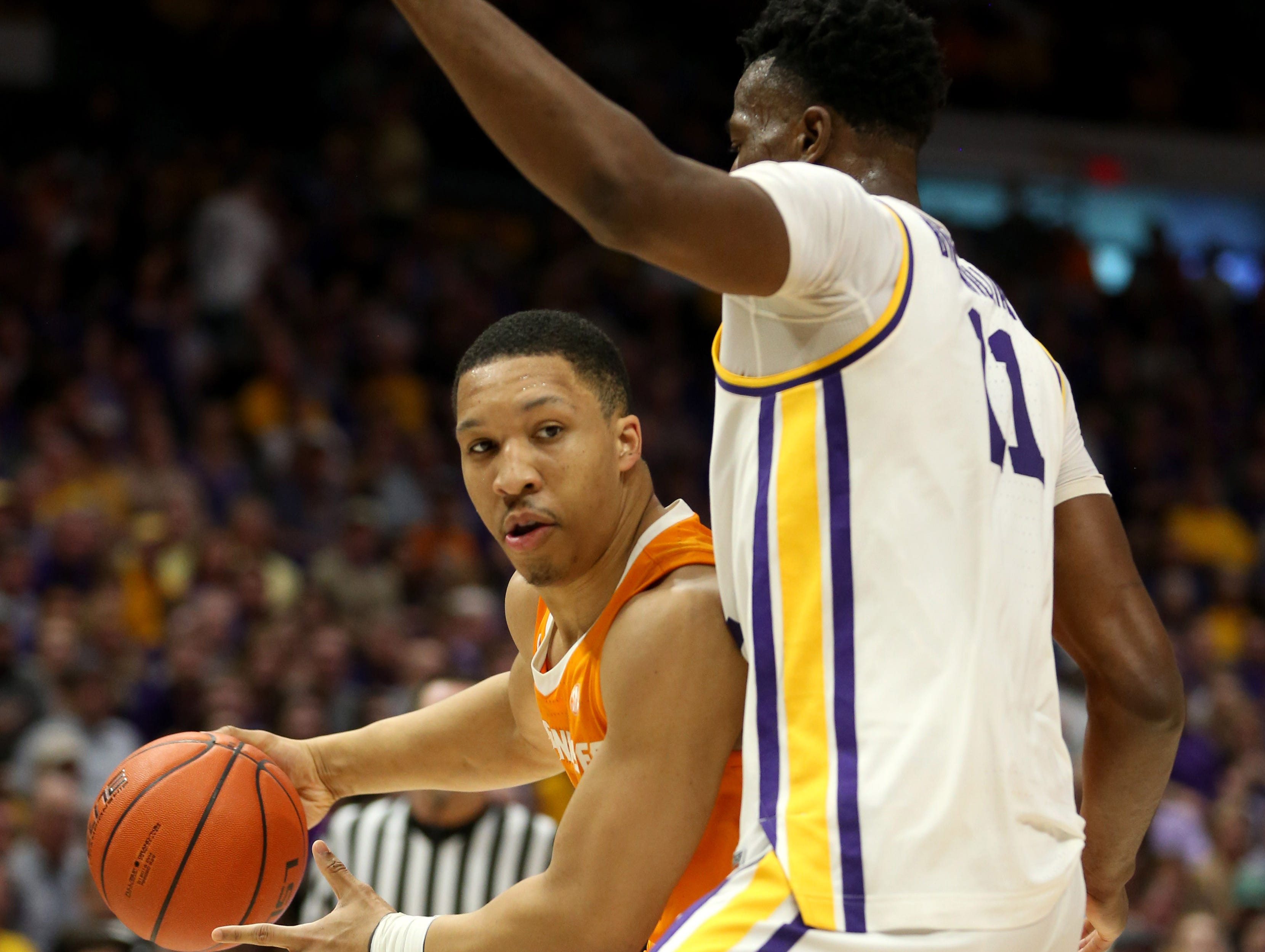 Feb 23, 2019; Baton Rouge, LA, USA; Tennessee Volunteers forward Grant Williams (2) is defended by LSU Tigers forward Kavell Bigby-Williams (11) in the first half at the Maravich Assembly Center. Mandatory Credit: Chuck Cook-USA TODAY Sports