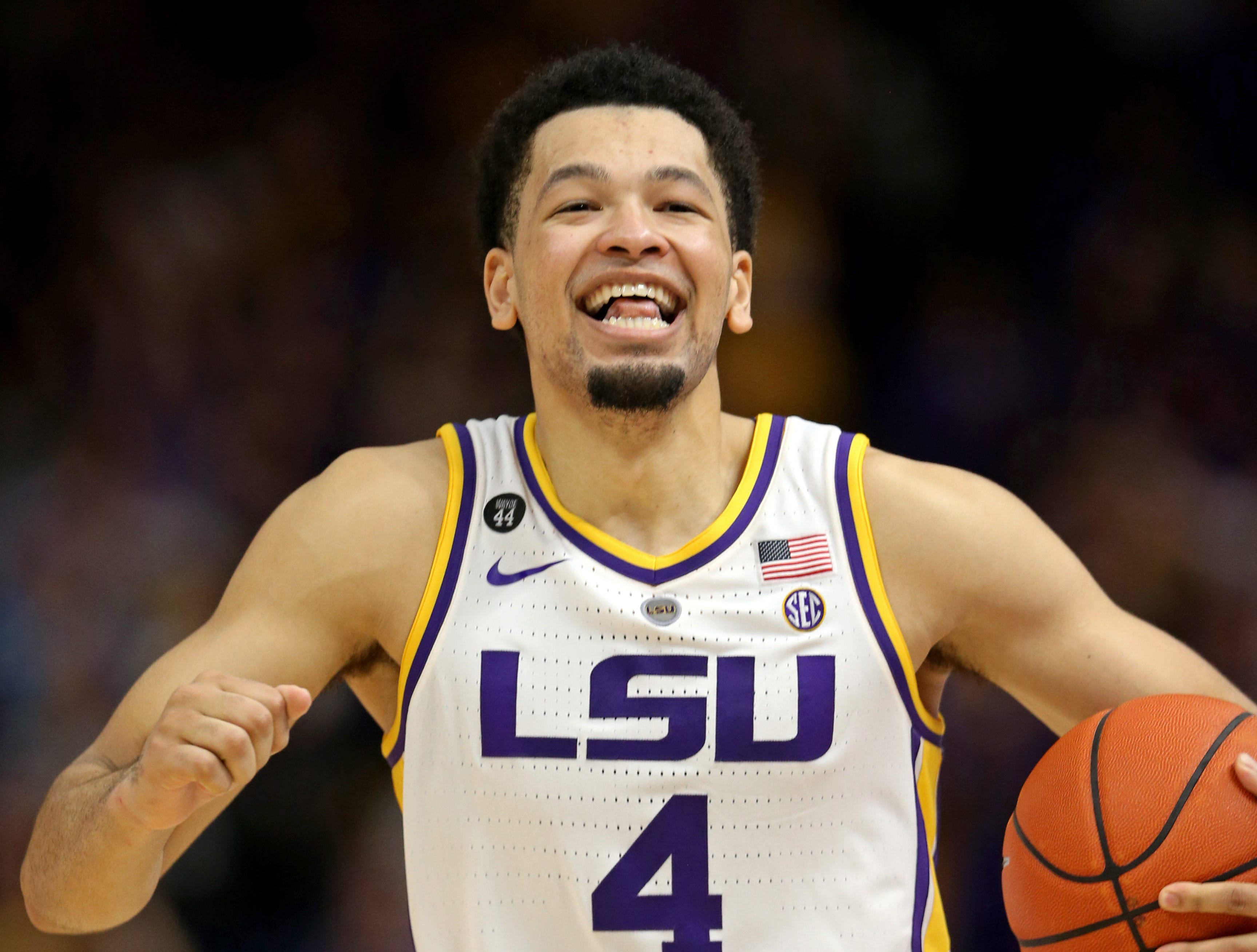 Feb 23, 2019; Baton Rouge, LA, USA; LSU Tigers guard Skylar Mays (4) celebrates a Tennessee Volunteers foul in overtime against the Tennessee Volunteers at the Maravich Assembly Center. LSU won, 82-80 in overtime. Mandatory Credit: Chuck Cook-USA TODAY Sports