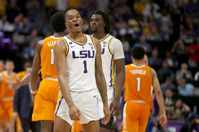 Feb 23, 2019; Baton Rouge, LA, USA; LSU Tigers guard Ja'vonte Smart (1) celebrates taking the lead in overtime against the Tennessee Volunteers at the Maravich Assembly Center. LSU won, 82-80 in overtime. Mandatory Credit: Chuck Cook-USA TODAY Sports