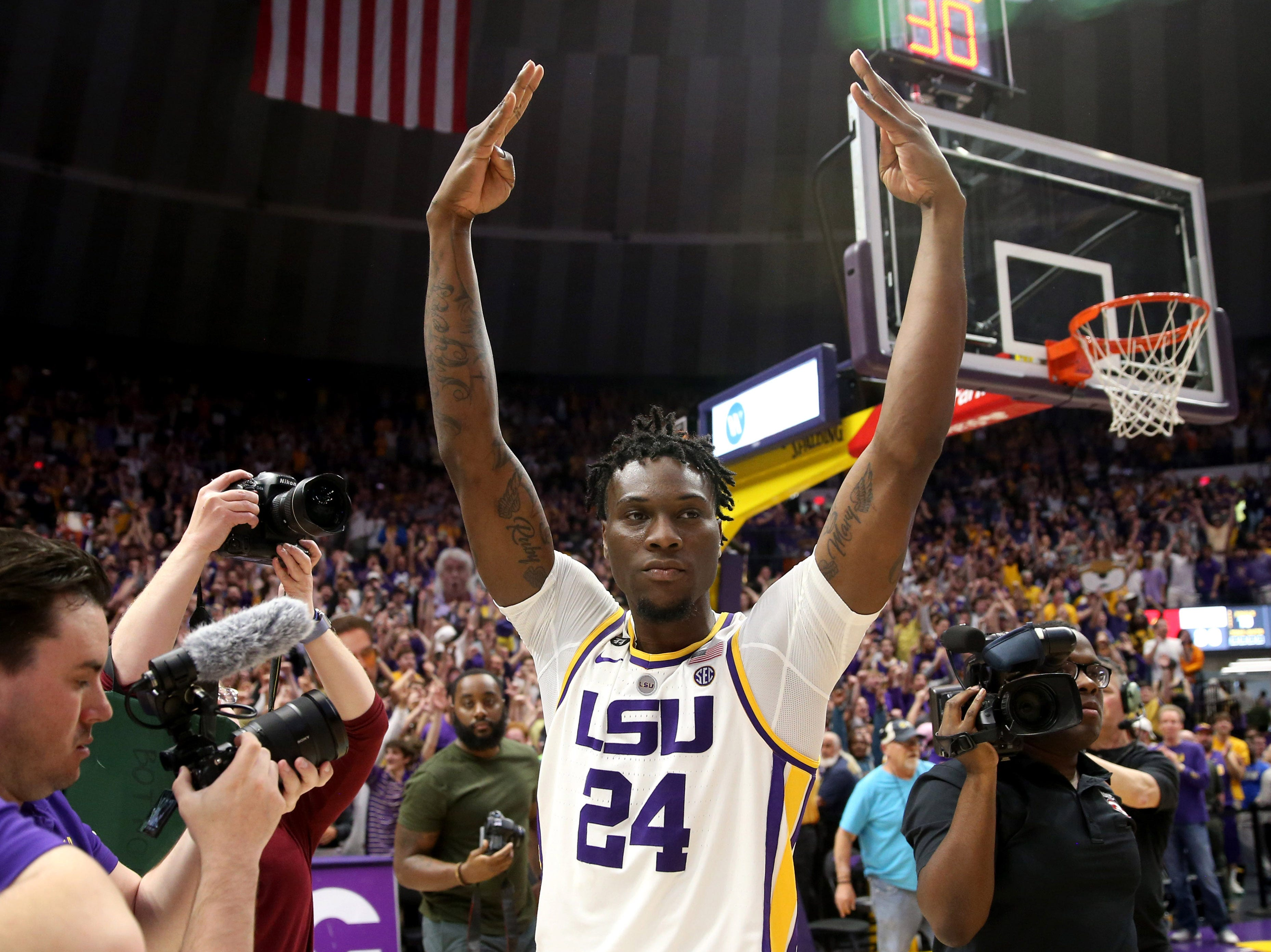 Feb 23, 2019; Baton Rouge, LA, USA; LSU Tigers forward Emmitt Williams (24) celebrates after their game against the Tennessee Volunteers at the Maravich Assembly Center. LSU won, 82-80 in overtime. Mandatory Credit: Chuck Cook-USA TODAY Sports